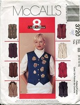 McCall's Pattern 3720 Misses/Miss Petite Lined Vests, Size BB (8-10-12-14) - $10.88