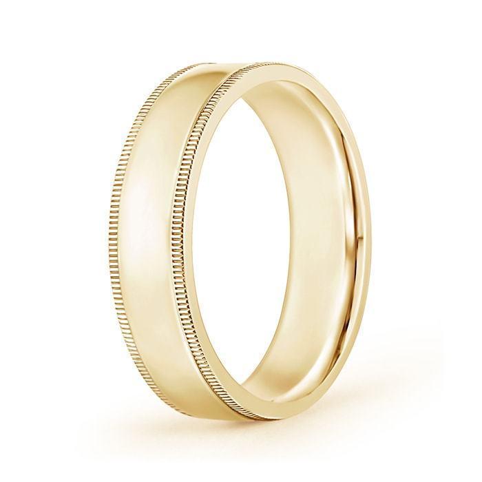 Platinum Double Milgrain 6mm Wide Flat Wedding Band Ring: 6mm Wide Classic Flat Surface Milgrain Mens Wedding Band
