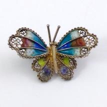 Butterfly Brooch 800 Vermeil Filigree Enamel image 4
