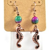 Lucky You Antique Copper Tone Seahorse Sea Horse Drop Marine Ocean Earring image 2