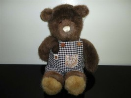Gund Bear Tales Vintage 1985 Brown Bear in Overalls 15 inch ADORABLE - $120.15