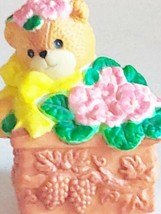 Lucy & Me Enesco Flower Box Bear 1994 Yellow Bow - $15.19