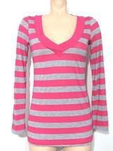 Splendid Women's Top Medium Pink Gray V-Neck Long Sleeve - $14.95