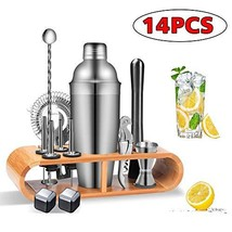 Cocktail Shaker Bar Set Tools, Bartender Kit Stainless Steel with Bamboo... - $45.48