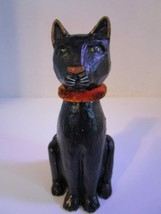 "Halloween Sitting Black Cat Resin 4"" Figure Shelf Setter Gothic Spooky C... - £5.23 GBP"