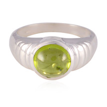 Genuine Gems Round cabochon Peridot ring-925 Sterling gift for labour da... - $13.29