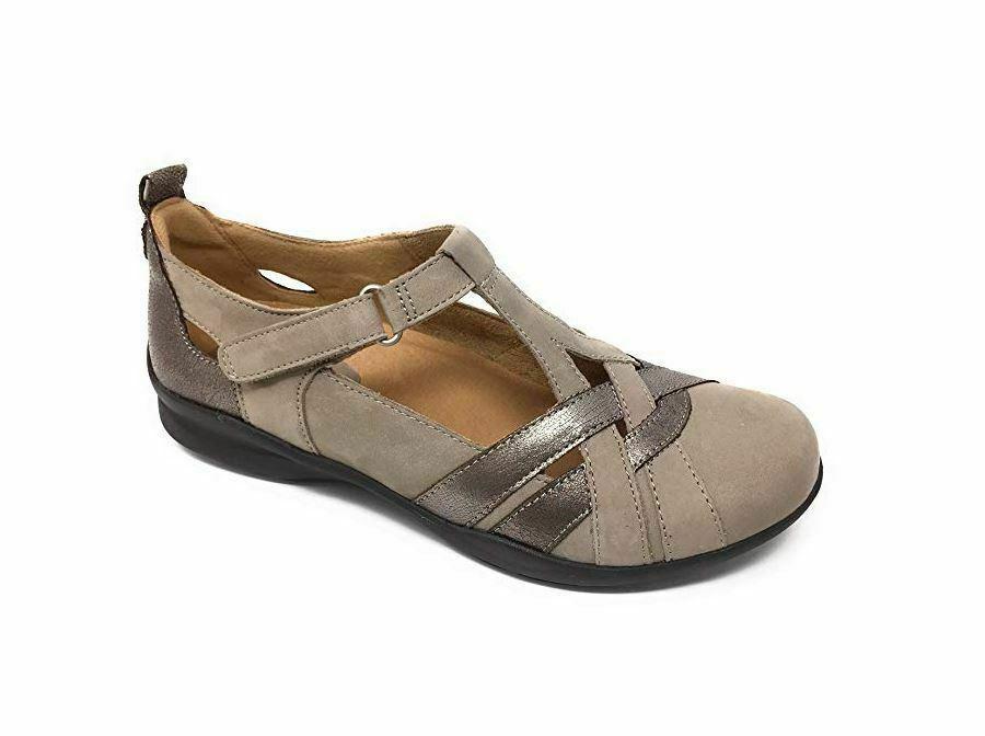 Earth Leather Adjustable Slip On Shoes - Ocelet TAUPE 7 MED A304646 - $67.63