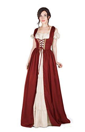 Boho Set Medieval Irish Costume Chemise and Over Dress (2XL/3XL, Cranberry)