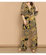 Surplice Neck Flutter Sleeve Scarf Print Wrap Jumpsuit Romper Top Pants ... - $46.79