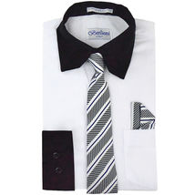 Berlioni Italy Boys Two Toned Kids Toddlers Dress Shirt With Tie & Hanky Set image 4