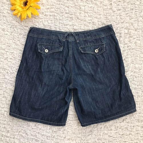 Calvin Klein Dark Wash Denim Shorts Size 10 Cotton Light Weave Modest