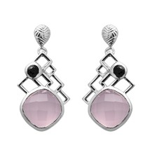 Cushion Cut Rose Quartz Black Spinel Round Bezel 925 Silver Women Earrin... - $34.62