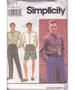 Mens Pants, Men Shirts, Men Shorts, Long Short Sleeve Shirt Simplicity 8571 - $12.00