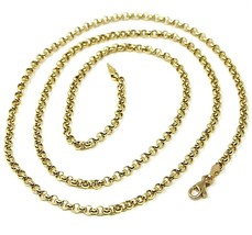 18K YELLOW GOLD ROLO CHAIN 2.5 MM, 16 INCHES, NECKLACE, CIRCLES, MADE IN ITALY image 1