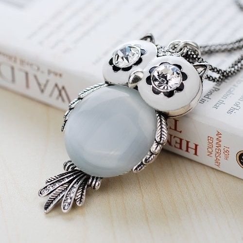 Chaomingzhen Austrian Crystal Vintage Owl Pendant Long Necklace for Women image 3