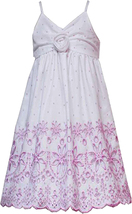Rare Editions Little Girl 2T-6X Pink Dot Print Embroidered Border Cotton Dress