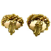 Vintage Golden Bead Cluster Wreath Clip-On Earrings Made in Japan image 3