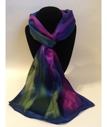 Hand Painted Silk Scarf Reddish Purple Olive Green Blue Ladies Head Neck Gift - £44.76 GBP