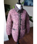 Hand Knit Women's sweater cardigan with pocket collar Pink S Small - $14.24