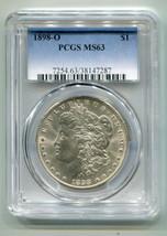 1898-O MORGAN SILVER DOLLAR PCGS MS63 NICE ORIGINAL SUPER PREMIUM QUALIT... - $72.00