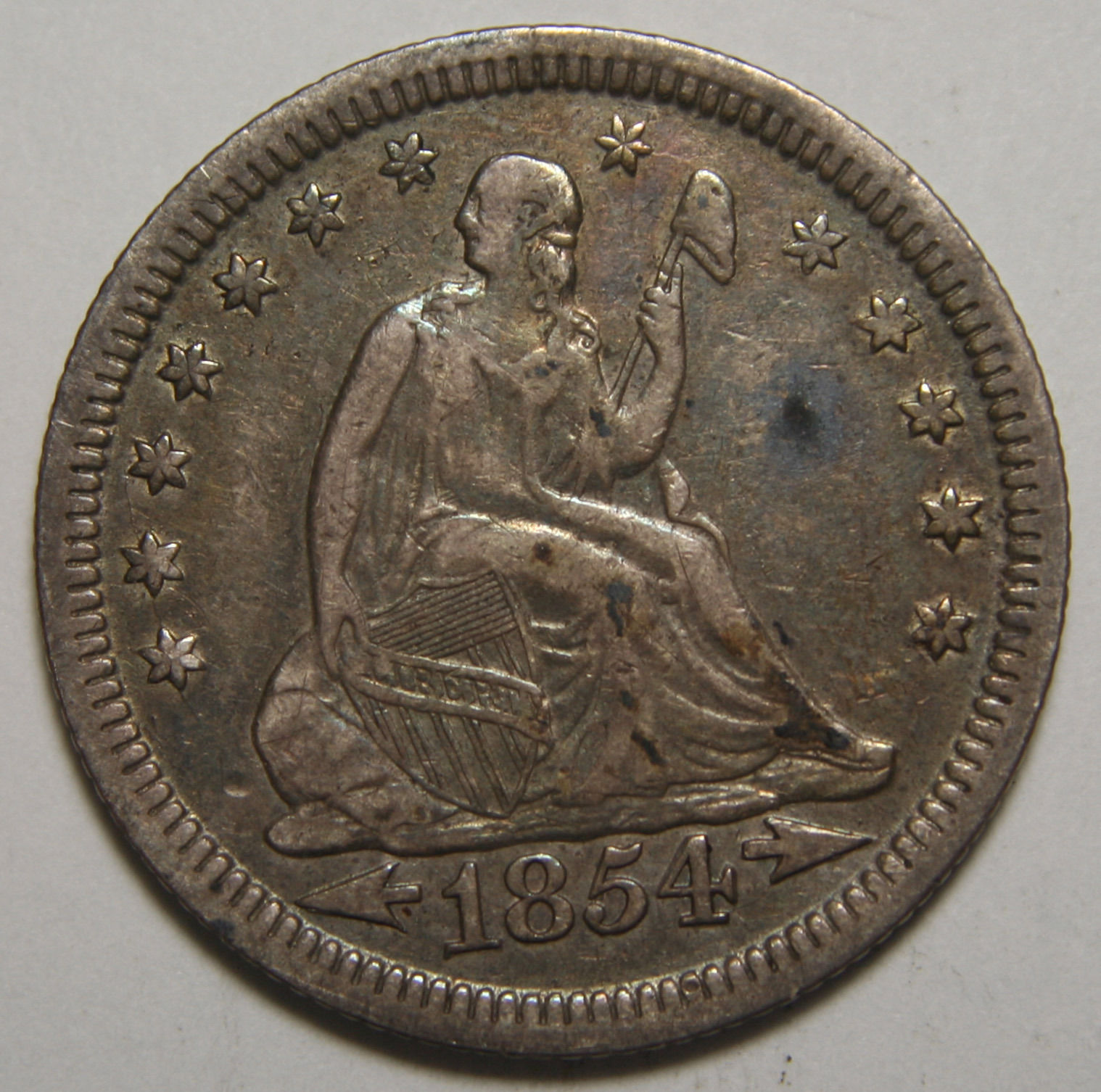 1854 Seated Liberty Quarter 25¢ Coin Lot# MZ 3547