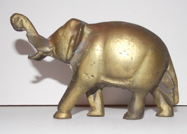 Elephant Figurine Metal 6in Long Vintage Brass Animal Trunk Up Paper Weight - $19.99
