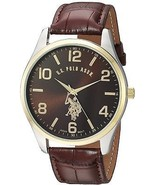 U.S. Polo Assn. Classic Men's USC50225 Watch With Brown Faux-Leather Strap - £40.85 GBP