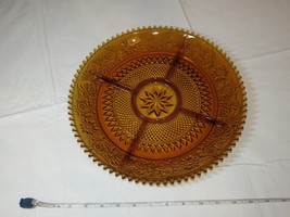 """Tiara Indiana Glass Amber Sandwich 5 Part Divided Relish 12"""" Tray Veggy ~ - $47.51"""