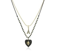 Betsey Johnson Betsey Goes to Paris Glitter Heart & Eiffel Tower 2 Row N... - $34.49
