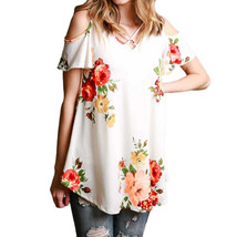 hirigin Women Floral Print Blouse V neck strapless Tops Vintage Clothing Casual  - $36.00