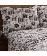 King Sheet Set Woodland Cabin Lodge Bear Deer Wilderness Wyndham Remington  - $84.10