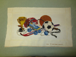 "Completed Kids' ""ALL STAR"" SPORTS EQUIPMENT Crewel Embroidery - 9"" x 16"" - $18.76"