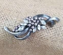 Vintage brooch pin silver tone clear rhinestone - $20.17