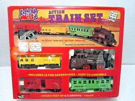 VINTAGE RARE LEGENDS OF THE WEST ACTION TRAIN SET IN BOX 1970'S WOOLWORT... - $71.00
