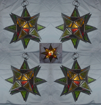 Four (4) hanging jewel glass moroccan star candleholder metal frame lant... - $95.00