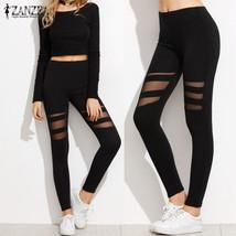 ZANZEA Women Leggings  Casual Fitness High Waist Leggings Sexy Mesh Workout - $37.00
