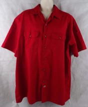 Dickies Short Sleeve Button Down Work Shirt  Red 2XL Solid  - $15.06