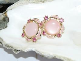 Pink Rhinestone Screw Back Earrings - $12.95