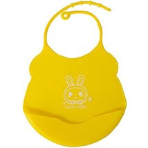 2 Pcs Yellow Mother Essential Cartoon Silica Waterproof Pocket Baby Bibs image 2