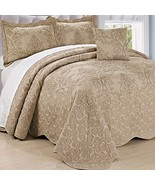 Home Soft Things Serenta Damask 4 Piece Bedspread Set, Queen, Incense - $73.48