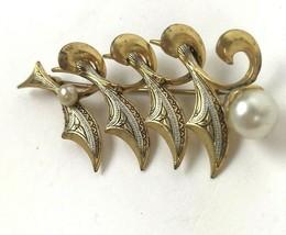 VTG Pin Brooch damascene Floral Faux Pearl MCM - $17.81