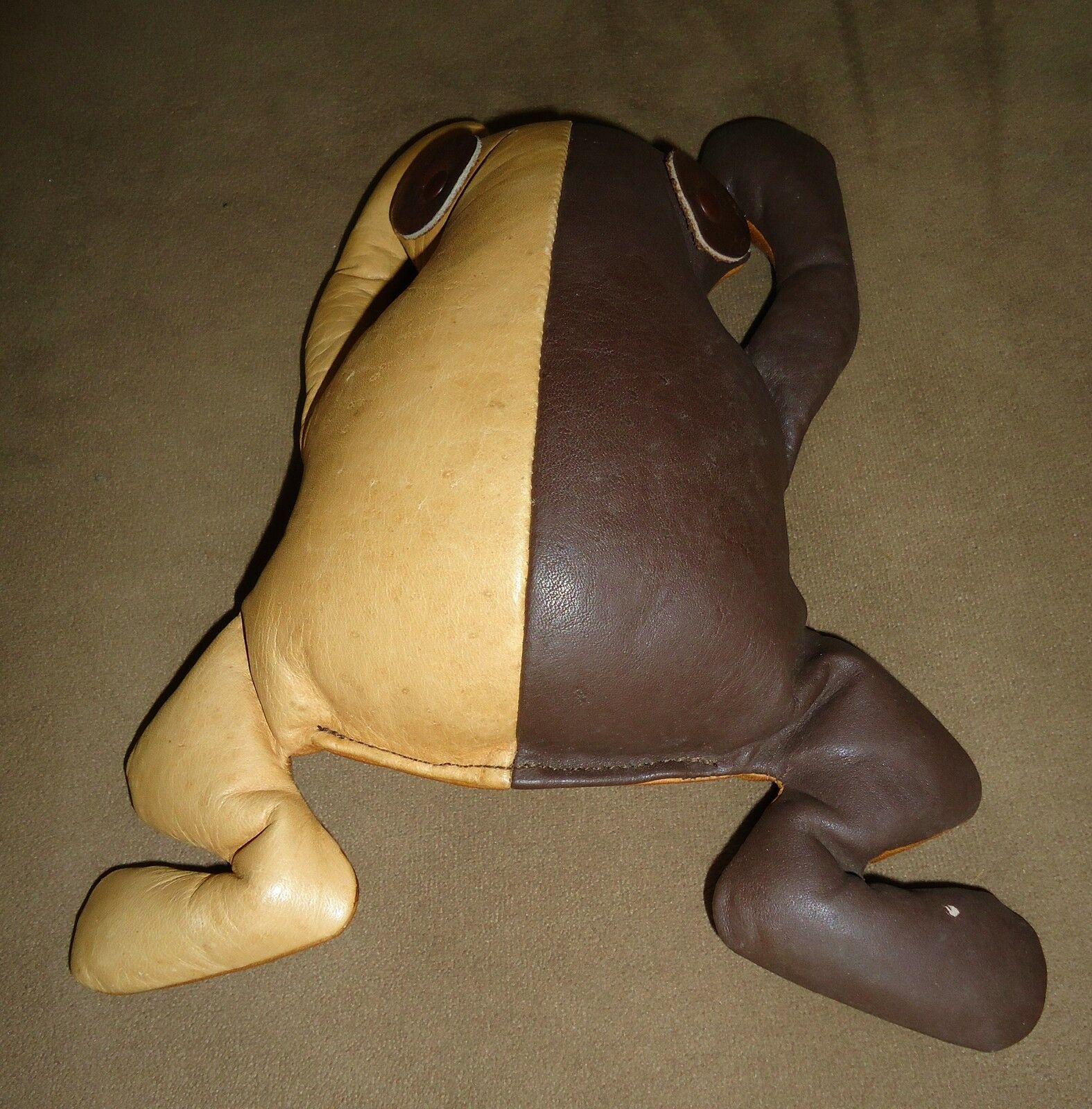MUNDI Leather Frog Animal Reptile Plush DecorHand Crafted BRAZIL VTG ESTATE RARE image 2