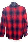 NWT Woolrich Men's Classic Fit Shirt Flannel Red Plaid Brushed 100% Cotton  - $35.53