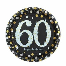 60th Birthday Black and Gold Party Tableware and Room Decorations Comple... - $2.30+