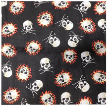 "Skull & Crossbones Skull on Fire Black Poly Cotton 22""x22"" Bandana - $6.88"