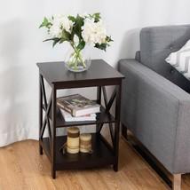 3-Tier Living Room Display Storage Shelf Nightstand-Coffee - £85.58 GBP
