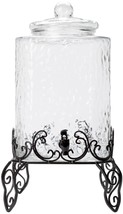 5 Gallon Hammered Glass Beverage Dispenser Metal Stand Party Wedding Col... - $118.75