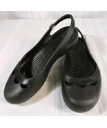 Women's CROCS size 8 slip-on BLACK Ballerina flats SILVER SPARKLE Embell... - $20.74