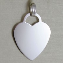 18K WHITE GOLD HEART CHARM PENDANT ENGRAVABLE FLAT SMOOTH SHINY MADE IN ITALY image 1