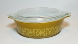 Pyrex Autumn Floral Square Flowers 471 Mustard Yellow Casserole with Lid... - $14.80